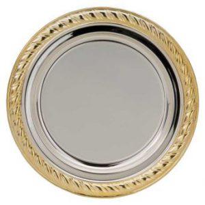 Prijsschaal zilver met gouden rand